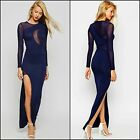 New Plus Size Navy Blue Long Sleeve Split Mesh Maxi Formal Evening Party Dress