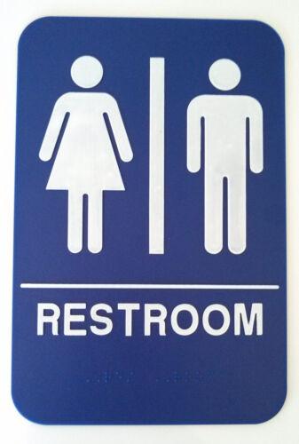 RESTROOM Unisex Sign ADA Compliant w//Braille Blue Public Accommodations Facilit
