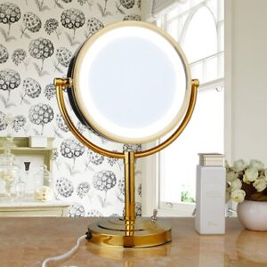 Led Lighted Golden Bathroom Make Up Stand Mirror Double Sided Normal Magnifying Ebay