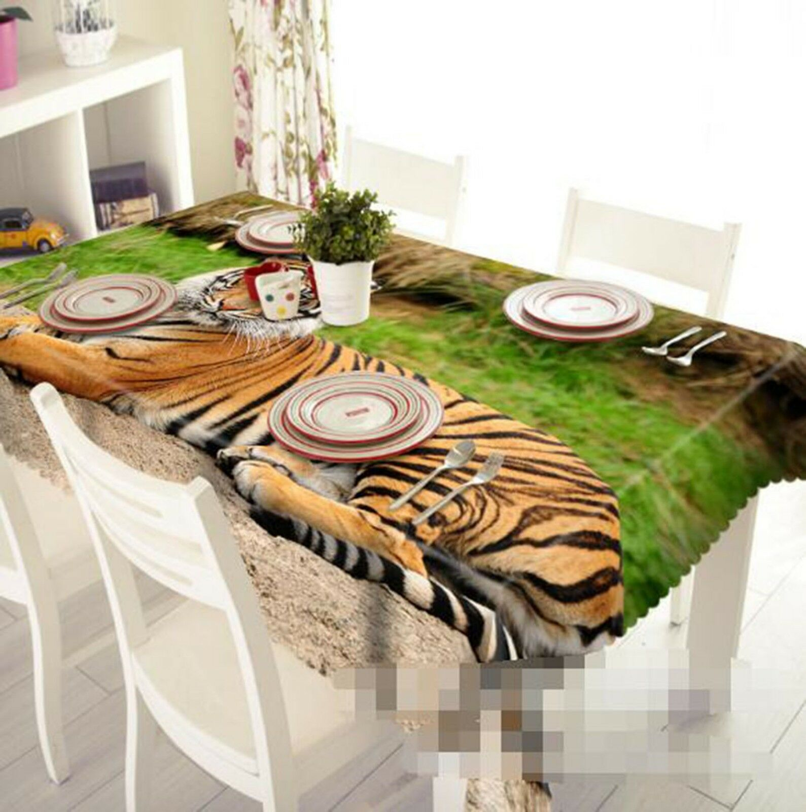 3D Tiger Animal 024 Tablecloth Table Cover Cloth Birthday Party Event AJ Lemon