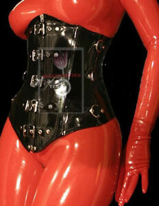 ef793333a6 Latex Rubber Gummi Corset 1.2mm Under bust Catsuit Suit Lace up ...
