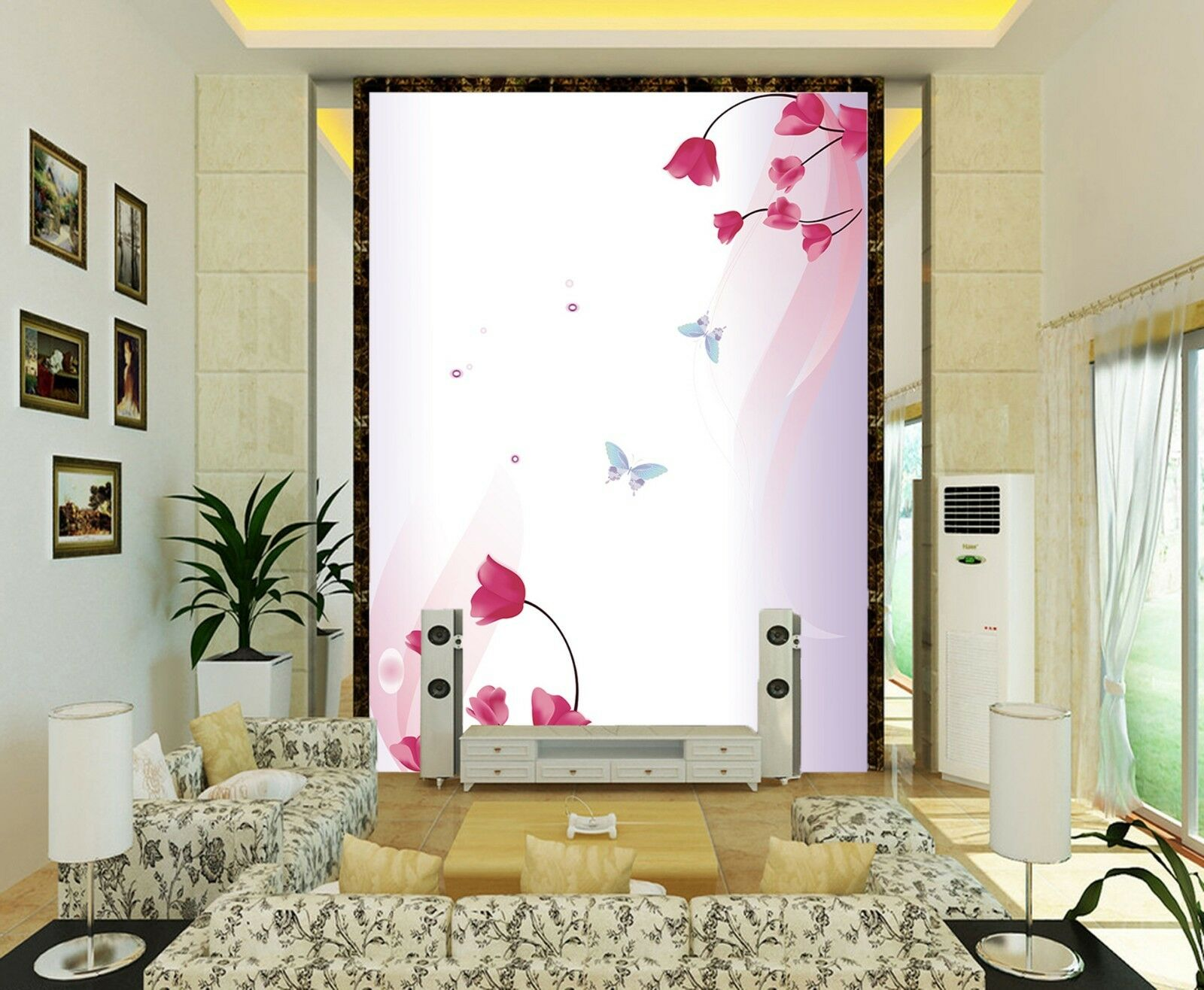 3D butterfly Flowers 22 Wall Paper Print Decal Wall Deco Indoor wall Mural