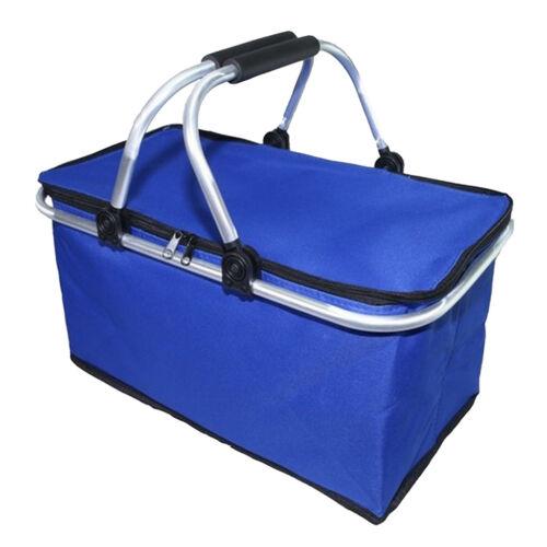 30L großer Isolierkorb Kühltasche Picknickkorb Blau Blaue Streifen //