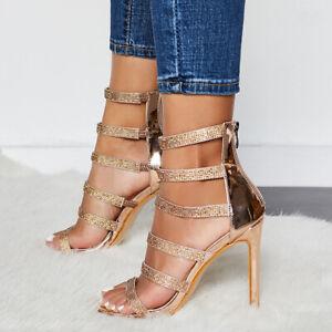 Womens-Diamante-Strappy-Peep-Toe-Sandals-Ladies-Zip-High-Heels-Bride-Shoes-Party