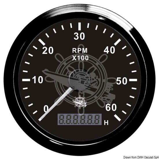 Elektronischer Drehzahlmesser mit mit Drehzahlmesser Stundenzähler 0-8000 Umin schwarz 27.325.04 5616c5