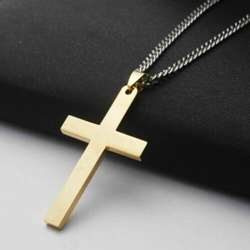 Men/'s Cross Pendant Solid 925 Sterling Silver 14k Yellow Gold Fn Valentine Gift
