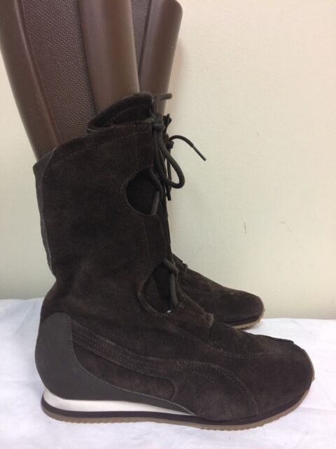 PUMA Women Brown Suede Ankle BOOTS Size