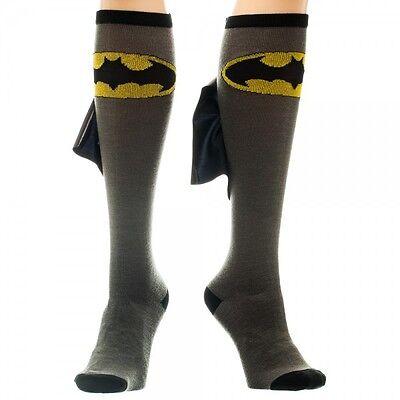 Batman Batgirl DC Comics Licensed Shiny Black Cape Grey Knee High Boot Socks