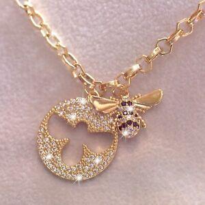 Salvación Oblongo Pertenece  18k yellow gold made with Swarovski crystal 3D buzzy bee pendant chain  necklace | eBay