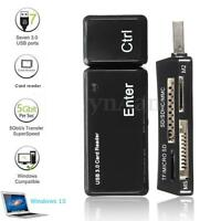USB 3.0 Memory Card Reader Adapter 128GB TF/Micro SD/SDHC/MMC/MS/M2 For Win10