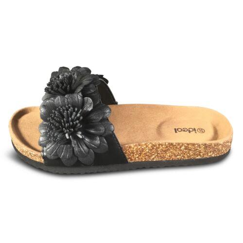 Damen Sandalen Blumen Pantoletten Slipper Keilbsatz Glitzer Sandaletten neu PG70