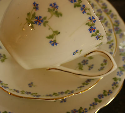 Jackson & Gosling Edwardian China 6 Piece Tea Set for 2 Cornflower Design c1919