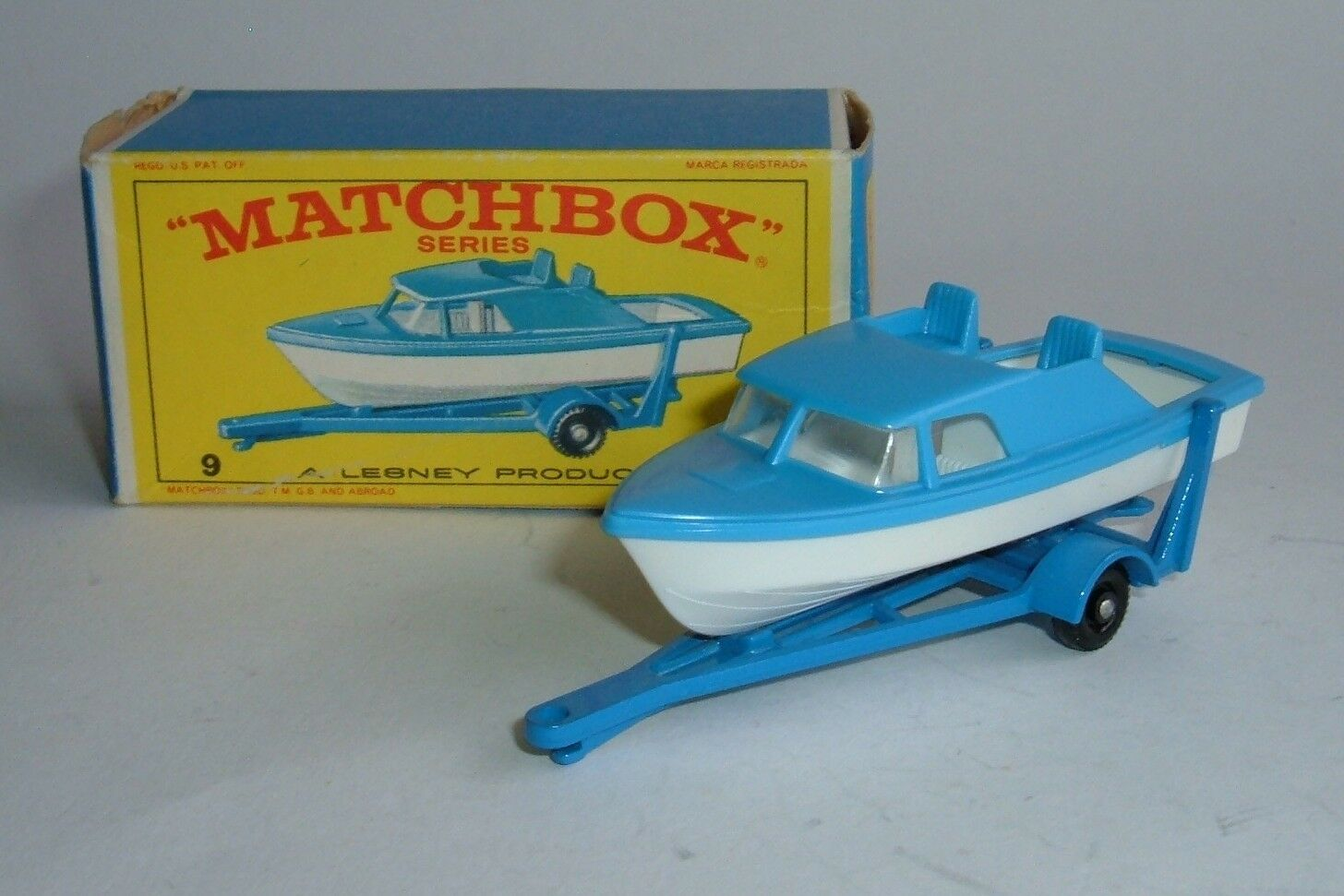 Matchbox Series No. 9, Cabin Cruiser and Trailer, - Superb Mint.