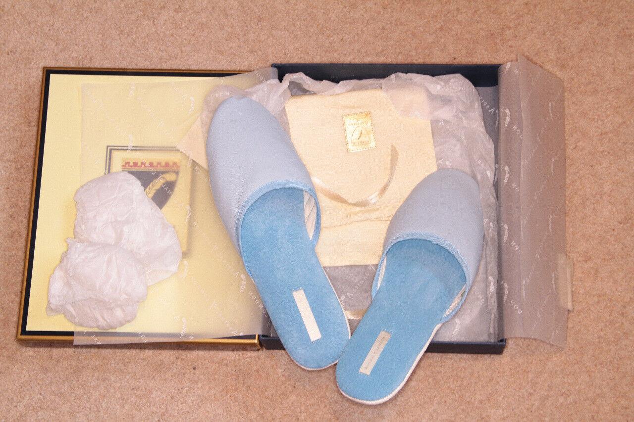 ASPINAL LADIES LUXURY LEATHER & SUEDE SUEDE SUEDE BABY blueE & IVORY BEDROOM SLIPPERS L BNIB 073cb2