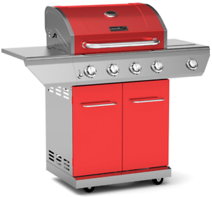 Nexgrill Propane Gas BBQ Grill 4-Burner with Side Burner 60,000 BTU Barbecue Red