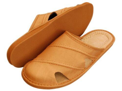 Latschen,Pantoffeln Echtleder XC22-BE Größe 40-46 Herren Hausschuhe