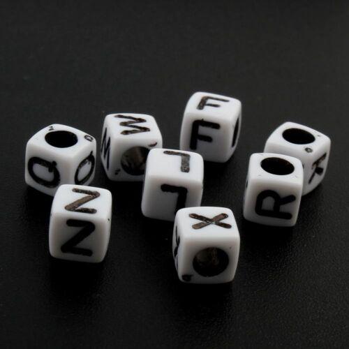 100 Perle Alphabet 6mm Blanc Acrylique Lettre au choix Bracelet bijoux 20-50