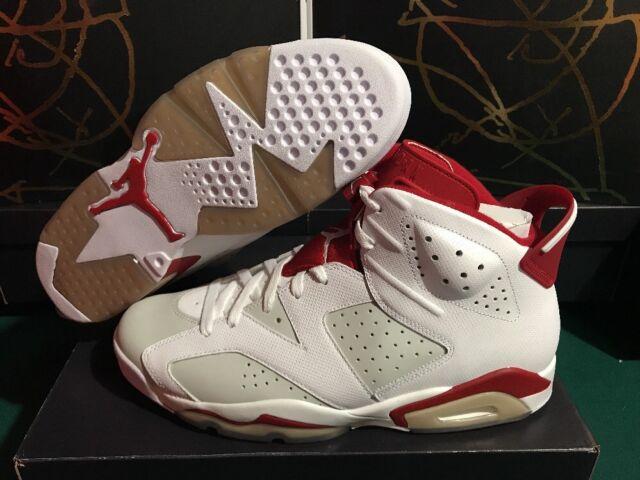 a5642e7ec90 NEW Nike Air Jordan Retro 6 VI Alternative White Gym Red Shoes Sz 13 384664-