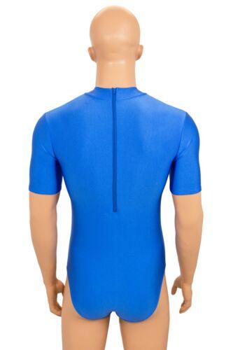 Herren Body kurze Ärmel Kragen Rückenreißverschluss Body stretch shiny S bis XL