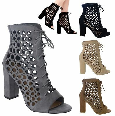 Ladies Womens Ankle Cut Out Block Heel Party Casual Fashion Boots Shoe Size 3-8
