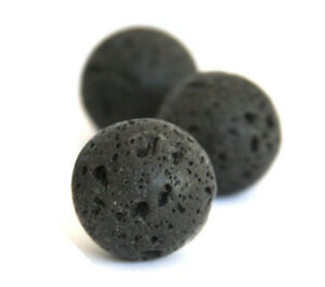 Lava-Perlen-Natuerliche-Edelstein-12mm-Schwarz-32stk-Schmuck-Naturstein-BEST-L3