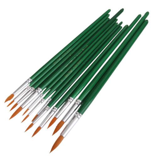 12pcs sortierte Pinsel eingestelltes Acrylöl Kunst Anstrich gezeigtes Grün