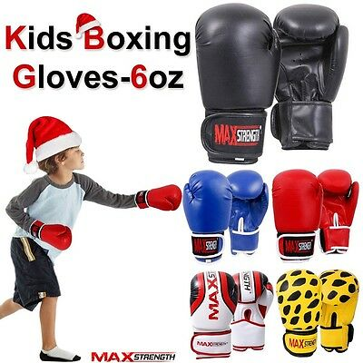 Junior Boxing Gloves Kids Fight Training MMA Children Youth Punch Bag Mitts 6oz