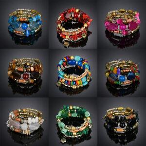 Fashion-Multilayer-Turquoise-Agate-Stone-Bangle-Women-Beaded-Bracelet-Jewelry