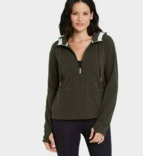 Women's Microfleece Hooded Pullover Sweatshirt XXL Olive Green - All in Motion