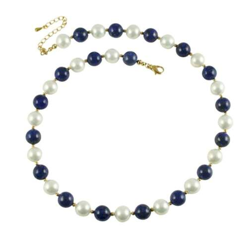 Duet Lapis Lazuli and Shell Pearl Necklace