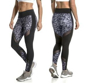 Puma Clash Tight Damen Sport Legging Netz Laufhose Fitness Training Hose Schwarz Non-Ironing Women's Clothing Pants