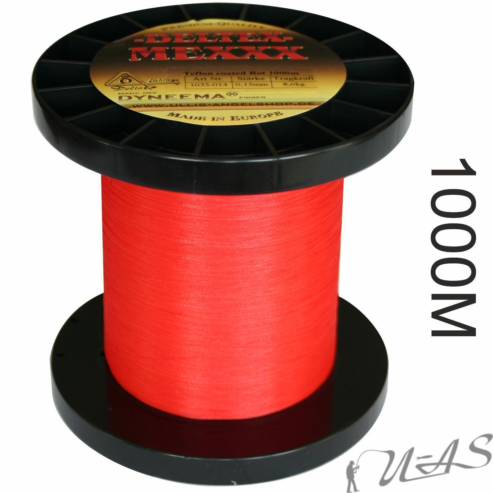 Deltex mexxx ROSSO 1000m Dyneema intrecciato lenza Teflon Rivestito KVA