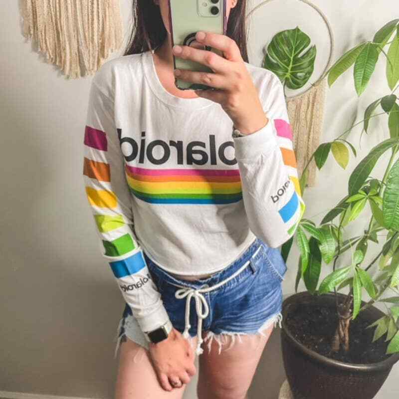Polaroid Cropped Long Sleeve Graphic Tee - image 2