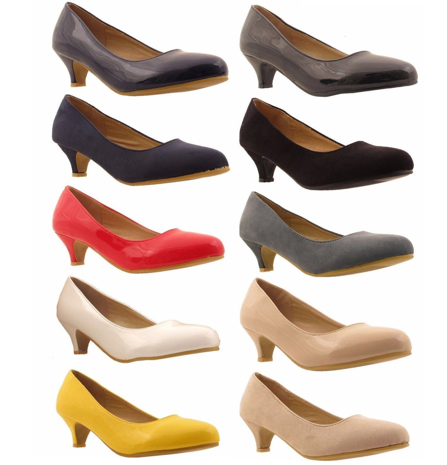 New Ladies Womens Low Kitten Heel Work Court Evening Girls Shoes Pumps Size 3-8