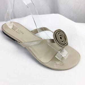 Women-039-s-Sandals-Flip-Flops-Talbots-Nude-Beige-Patent-Leather-Flower-Accent-Sz-6