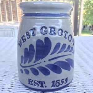 Westerwald-Pottery-Stoneware-Crock-WEST-GROTON-MA-Salt-Glazed-Blue-And-Grey
