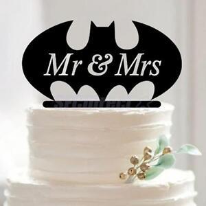 Batman Mr Mrs Cake Topper for Wedding Birthday Anniversary Cake