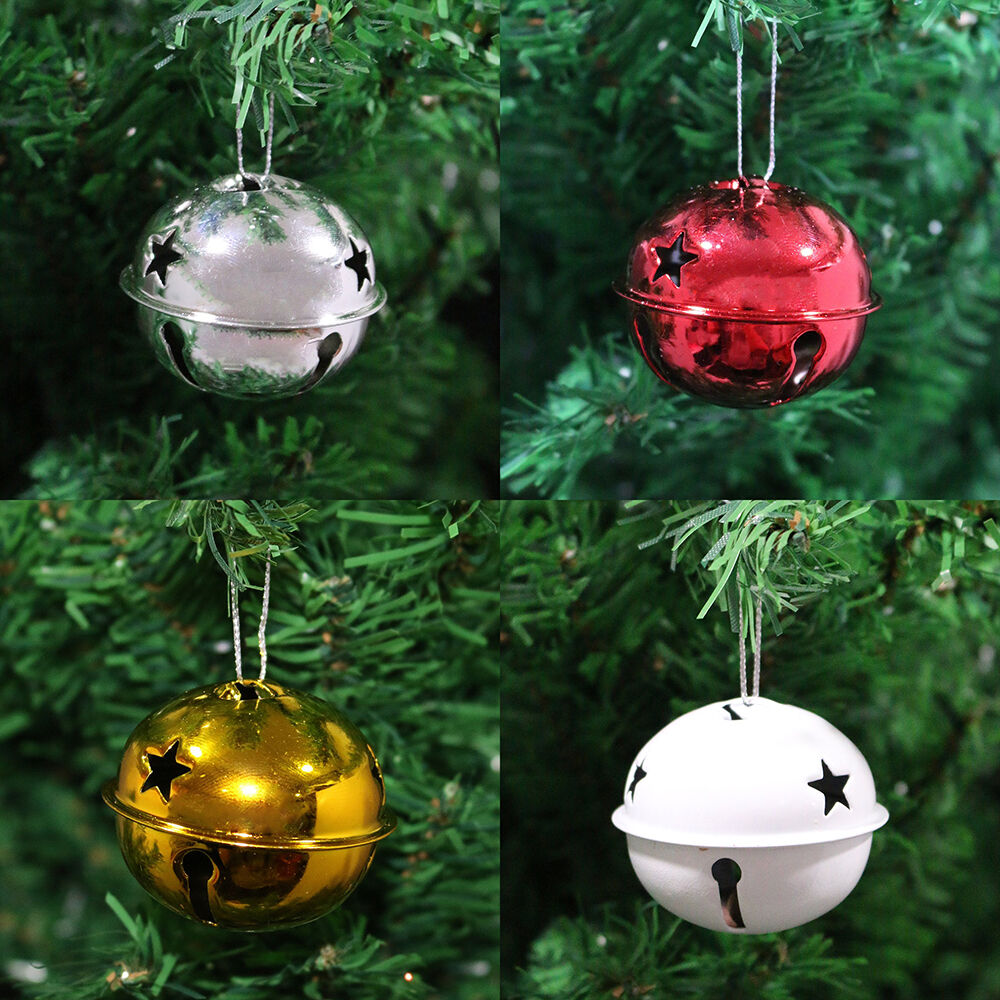 Silver / Gold / Red / White Metal Jingle Bell Christmas Tree Baubles Decorations | eBay