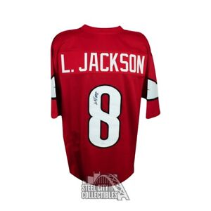 buy popular 38ae7 e4ff2 Details about Lamar Jackson Autographed Louisville Cardinals Custom Red  Football Jersey - JSA