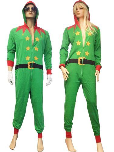 UNISEX ADULT WOMEN MENS GREEN ELF SANTA PLAYSUIT XMAS COSTUME ALL IN ONE DRESS