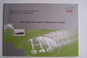 1997 audi a6 avant quattro owners manual wagon supplement new rh ebay ie 1998 Audi A6 Quattro Wagon 1997 Audi A6 Quattro