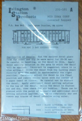 Islington Station Prodcuts #231-101A Mid Iowa Corp Cov/'d Hopper Decal RR RX,