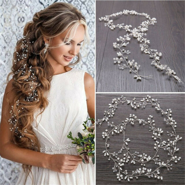 Women Girls Wedding Crystal Pearl Garland Hair Band Headband Elegant Headpiece