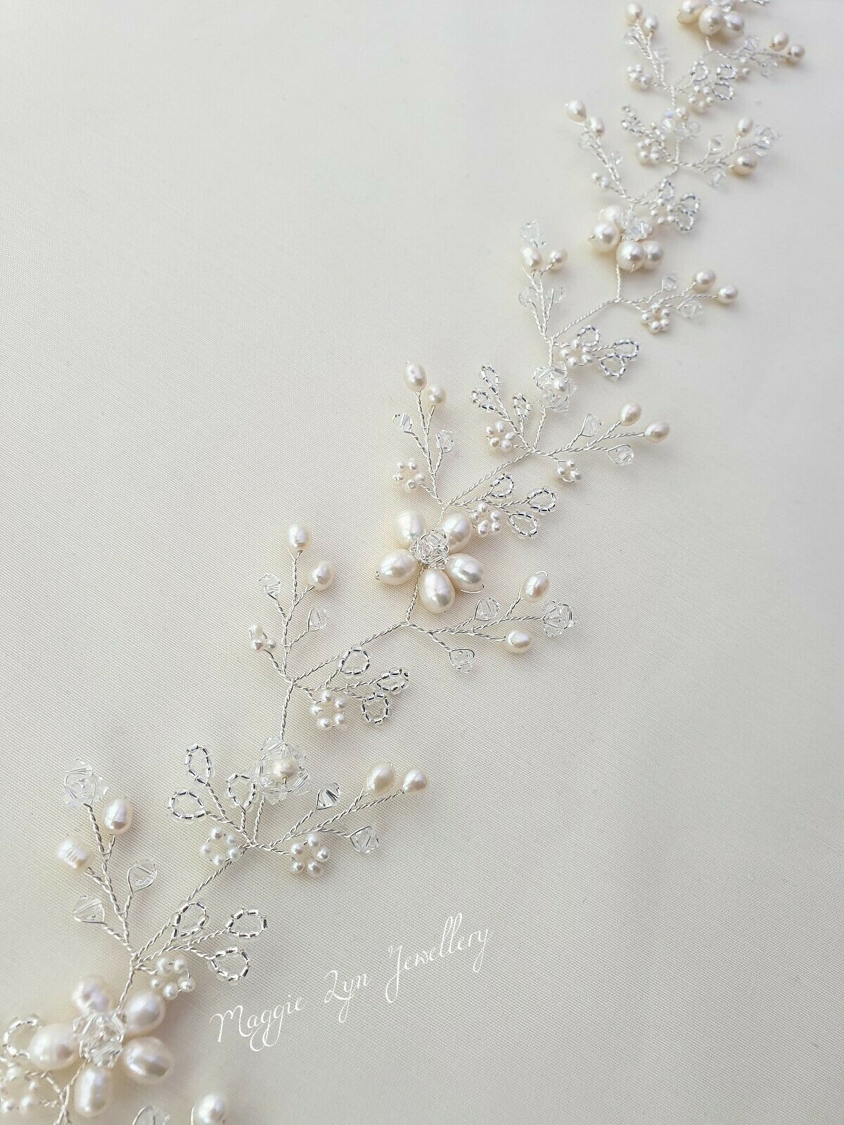 Detailed Long silver ivory Bridal hair vine, sparkly crystals headpiece wedding