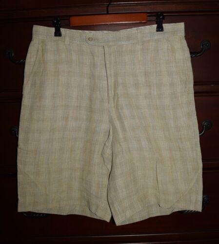 Men's Tommy Bahama Linen & Silk Brown Tan Plaid Ca