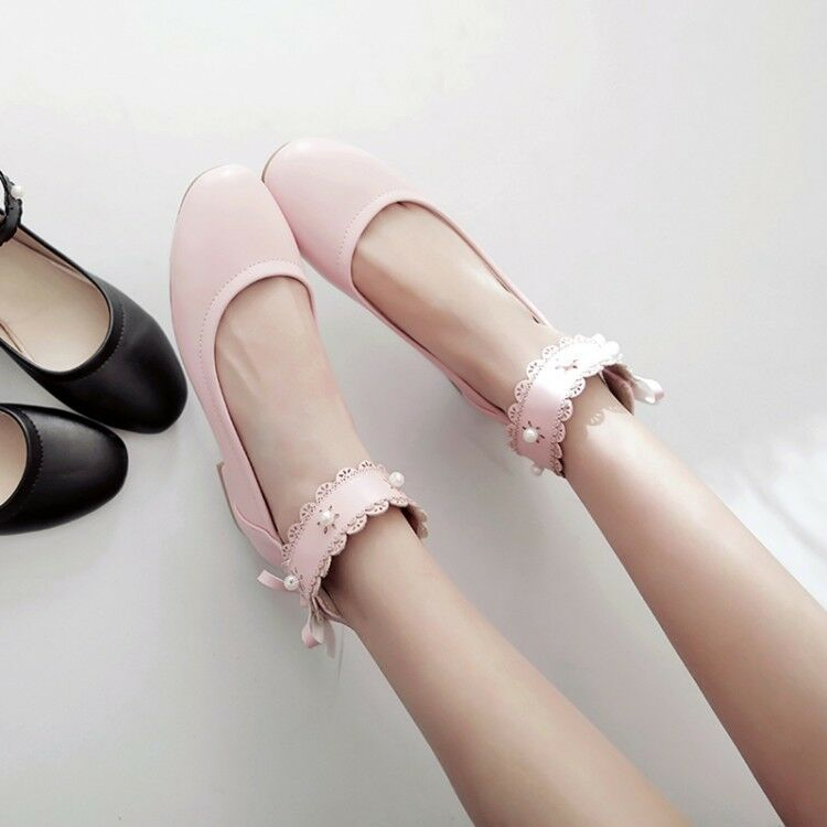 Hot womens round toe flat heel ankle strap pearl Lolita ballet ballerinas shoes