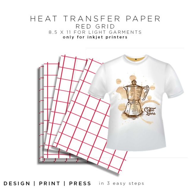 "11/""x17/"" Inkjet Heat Transfer Paper 8.5/""x11/"" Red Grid"