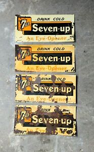 4-Rare-Vintage-Original-c-1930-039-s-Drink-Cold-Seven-7-UP-19-034-Tin-Soda-Signs