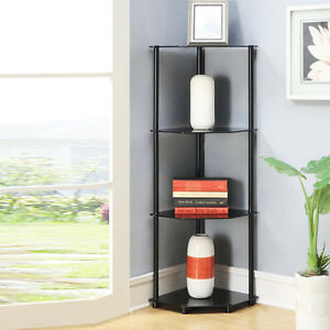 Image Is Loading Corner Shelf Rack 4 Tier Black Gl Bath