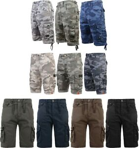 Men-039-s-Crosshatch-Camo-Shorts-Combat-Cargo-Army-Camouflage-Gym-Summer-Jeans-Pants